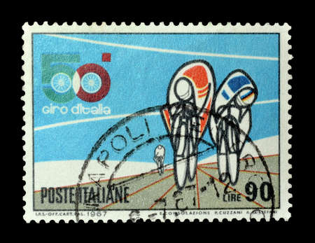 promotes: ITALY - CIRCA 1967 : Postage stamp printed by Italy, that promotes bicycle race Giro d\\\\