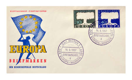 first day: Germany, circa 1957 : Postage First day cover letter printed by Germany, Europa issue with cancelled stamps.
