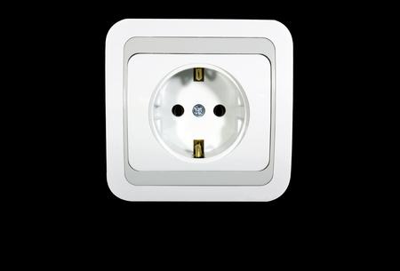 electric socket: Electric socket isolated on black background Stock Photo
