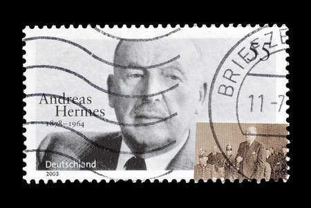 hermes: GERMANY - CIRCA 2003 : Cancelled postage stamp printed by Germany, that shows portrait of Andreas Hermes.