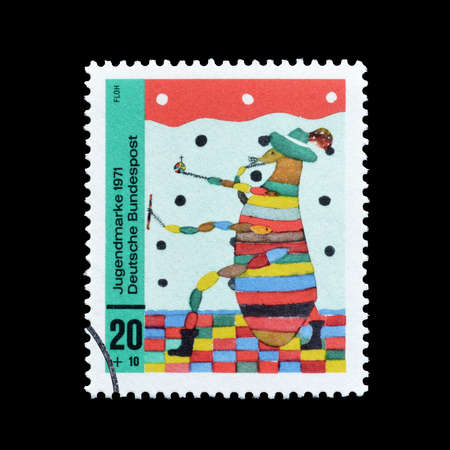 11 years old: Germany - circa 1971 : Cancelled postage stamp printed by Germany, that shows Flea; drawing by a 11 years old boy.