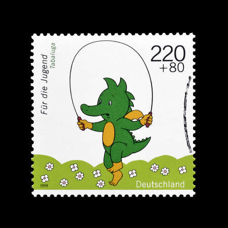 philately: Germany - circa 1999 : Cancelled postage stamp printed by Germany, that shows cartoon character Tabaluga.