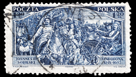 sobieski: Cancelled postage stamp printed by Poland, that shows John III Sobieski and Allies before Vienna, circa 1933.