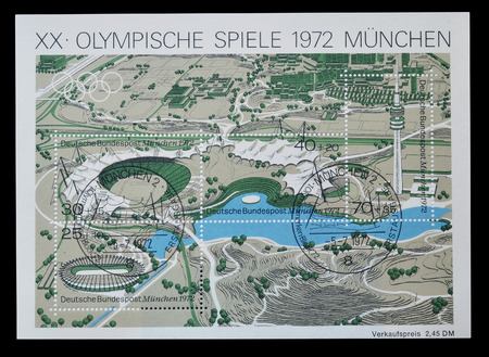 promotes: Cancelled souvenir sheet printed by Germany that promotes Olympic games in Munich and shows Olympic stadium and village, circa 1972.