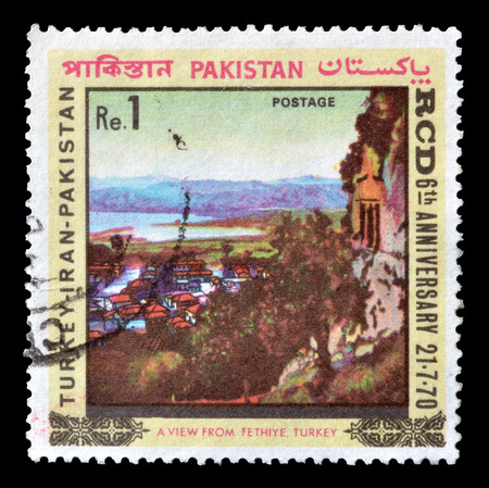 fethiye: Cancelled postage stamp printed by Pakistan, that shows a view from Fethiye, Turkey, circa 1970.