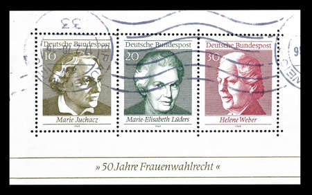 weber: Cancelled souvenir sheet printed by Germany, that shows portraits of Marie Juchacz, Marie-Elisabeth Luders and Helene Weber that were members of the German Reichstag, circa 1969.