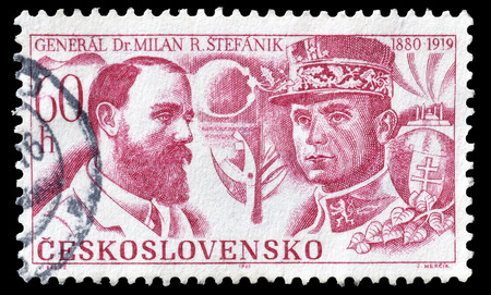 stefanik: Cancelled postage stamp printed by Czechoslovakia, that shows portraits of M. R. Stefanik as Astronomy Professor and and French General, circa 1969. Editorial