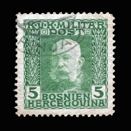 josef: Cancelled postage stamp printed by Bosnia and Herzegovina, that shows portrait of Emperor Franz Josef, circa 1912.