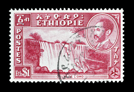 haile: Cancelled postage stamp printed by Ethiopia that shows waterfalls on Omo river and portrait of Haile Selassie, circa 1947.