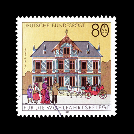philately: Cancelled postage stamp printed by Germany, that shows Post Office Lauscha, circa 1991.