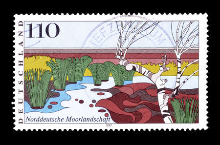 moorland: Cancelled postage stamp printed by Germany, that shows Moorland in Northern Germany, circa 1997.