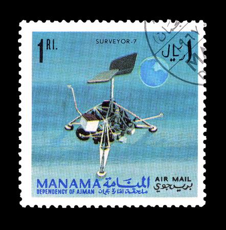 topógrafo: Cancelado sello impreso por Manama, que muestra Surveyor satélite 7, alrededor de 1968. Editorial