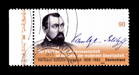 philately: Cancelled postage stamp printed by Germany, that shows portrait of Hermann Schulze Delitzsch, circa 2008.