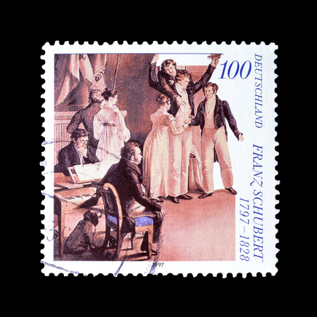 franz: Cancelled postage stamp printed by Germany, that shows Franz Schubert, circa 1997. Editorial