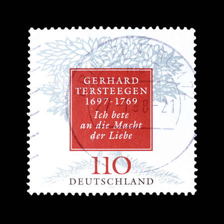 hymn: Cancelled postage stamp printed by Germany, that shows Tree and lyrics from the hymn of Pietist preacher Gerhard Tersteegen, circa 1997. Editorial