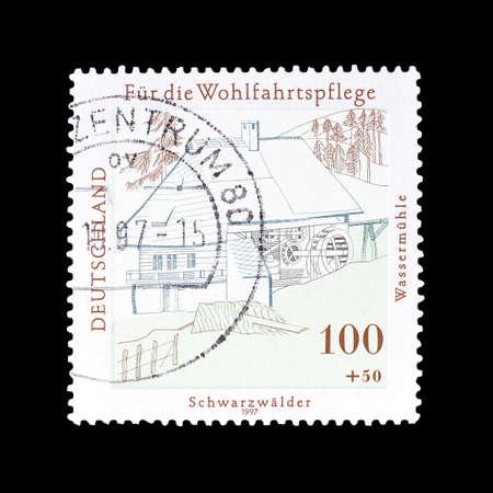 molino de agua: Cancelado sello impreso por Alemania, que muestra molino de agua, alrededor del año 1997. Editorial