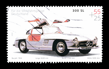 mercedes: Cancelled postage stamp printed by Germany, that shows Mercedes 300 SL, circa 2002. Editorial