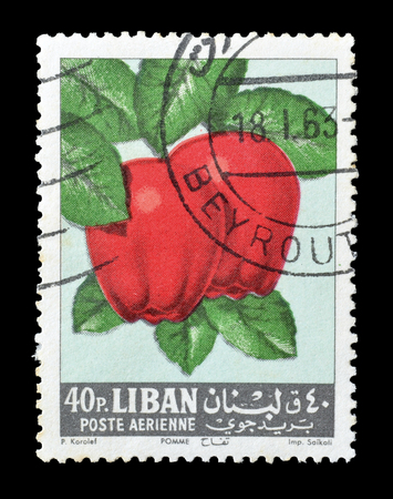 philately: Cancelled postage stamp printed by Lebanon, that shows apples, circa 1962. Editorial