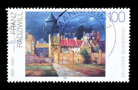 franz: Cancelled postage stamp printed by Germany, that shows painting by Franz Radziwill, circa 1995.