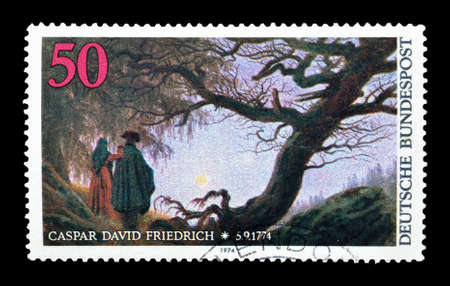 caspar: Cancelled postage stamp printed by Germany, that shows painting by Caspar David Friedrich, circa 1974.