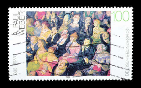weber: Cancelled postage stamp printed by Germany, that shows painting by Paul Weber, circa 1993.