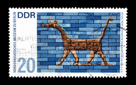 babylon: Cancelled postage stamp printed by German Democratic Republic, that shows Detail from Ishtar Gate Babylon, circa 1966.