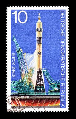 soyuz: Cancelled postage stamp printed by German Democratic Republic, that shows Soyuz take off, circa 1975. Editorial