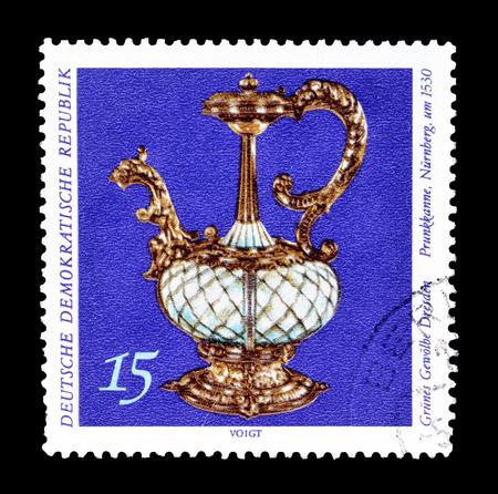 tankard: Cancelled postage stamp printed by German Democratic Republic, that shows Tankard, Nuremberg, circa 1971.