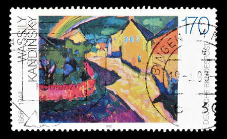 kandinsky: Cancelled postage stamp printed by Germany, that shows Painting by Wassily Kandinsky, circa 1992.
