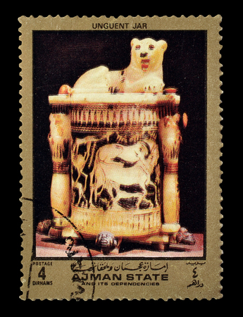 ajman: Cancelled postage stamp printed by Ajman state, that shows unguent jar, circa 1972.