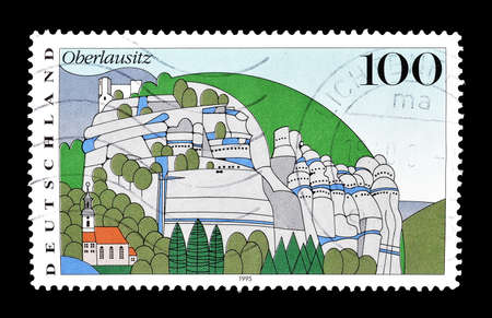 philately: Cancelled postage stamp printed by Germany, that shows Oberlausitz, circa 1995.