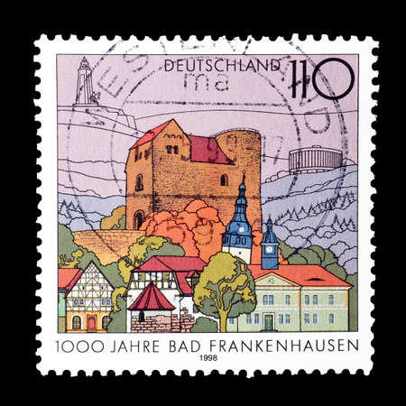 philately: Cancelled postage stamp printed by Germany, that shows Frankenhausen spa, circa 1998.