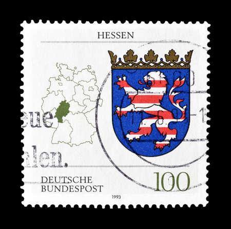 hessen: Cancelled postage stamp printed by Germany, that shows Coat of arms and map of Hessen, circa 1993.