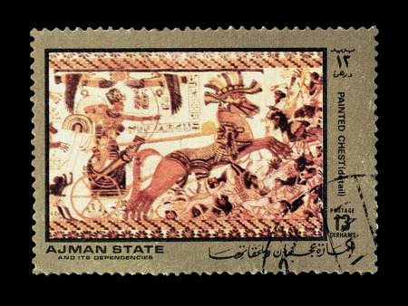 ajman: Cancelled postage stamp printed by Ajman state, that shows painted chest, circa 1972. Editorial