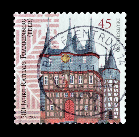 philately: Cancelled postage stamp printed by Germany, that shows Frankenberg town hall, circa 2009.