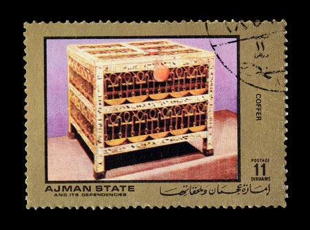coffer: Cancelled postage stamp printed by Ajman state, that shows coffer, circa 1972. Editorial