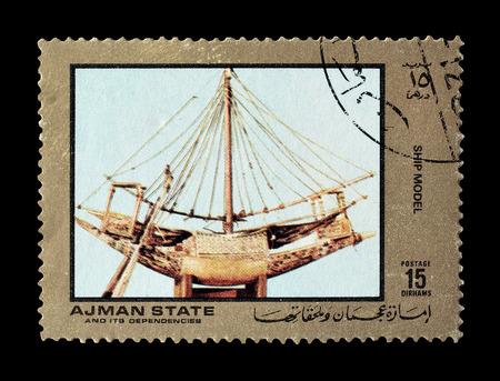 ajman: Cancelled postage stamp printed by Ajman state, that shows ship model, circa 1972.