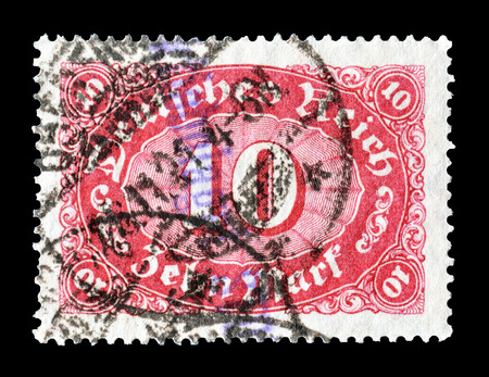 Reich: Cancelled postage stamp printed by Germany, that shows number of value, circa 1923.
