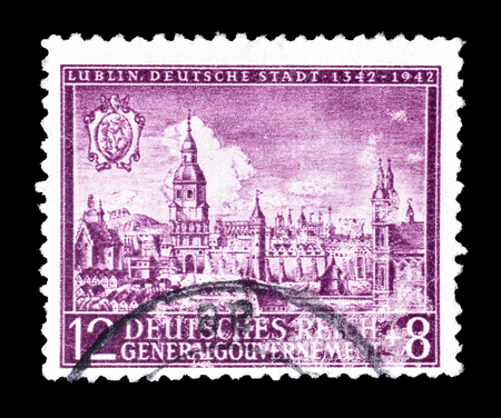 philately: Cancelled postage stamp printed by Germany, that shows Lublin, circa 1942.