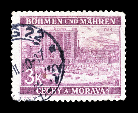 philately: Cancelled postage stamp printed by Germany, that shows Zlin, circa 1939. Editorial