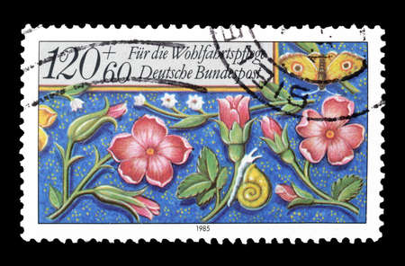 post stamp: Cancelled postage stamp printed by Germany, that shows Flora and fauna, circa 1985.