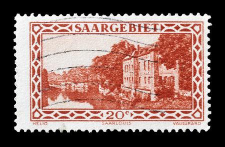 saarlouis: Cancelled postage stamp printed by Germany, that shows Saarlouis  barracks, circa 1926. Editorial