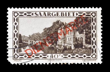 saarlouis: Cancelled postage stamp printed by Germany, that shows Saarlouis  barracks, circa 1927.