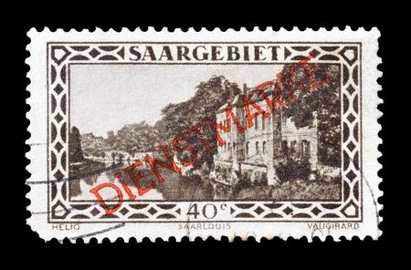 saarlouis: Cancelled postage stamp printed by Germany, that shows Saarlouis  barracks, circa 1927.