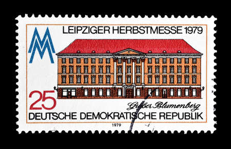 residental: Cancelled postage stamp printed by German Democratic Republic, that shows Residential Great Blumenberg, circa 1979. Editorial