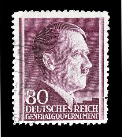 hitler: Cancelled postage stamp printed by Germany, that shows portrait of Hitler, circa 1942. Editorial