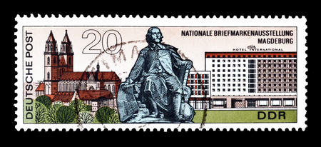 otto: Cancelled postage stamp printed by German Democratic Republic, that shows Cathedral Otto von Guericke Monument and Hotel International Magdeburg, circa 1969. Editorial
