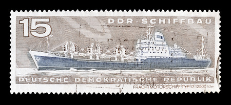 freighter: Cancelled postage stamp printed by German Democratic Republic, that shows Freighter type 17, circa 1971. Editorial
