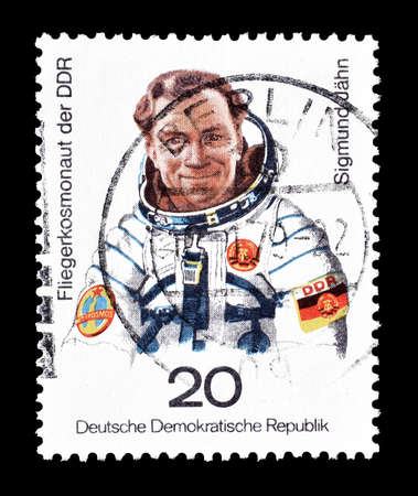 democratic: Cancelled postage stamp printed by German Democratic Republic, that shows Sigmund Jahn 1st German cosmonaut, circa 1978. Editorial