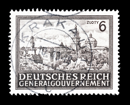lemberg: Cancelled postage stamp printed by Germany, that shows Lemberg, circa 1944.